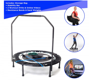 Maximus-PRO-Folding-Rebounder-Indoor-Exercise-Mini-Trampoline-for-Adults-with-Bar-Best-Home Gym-for-Fitness-Lose-Weight-Free-Storage-Bag-Resistance-Bands-Online-DVD-Workouts